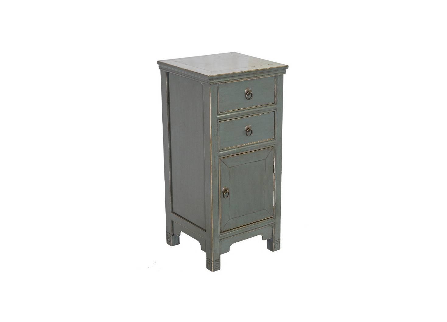 Meuble d'appoint Chinois - 1 porte 2 tiroirs - Vert de gris