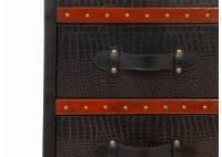 Chiffonnier-malle à bijoux Cap Horn - Façon croco marron foncé
