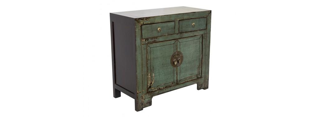 Buffet Chinois - 2 portes 2 tiroirs - Vert anglais