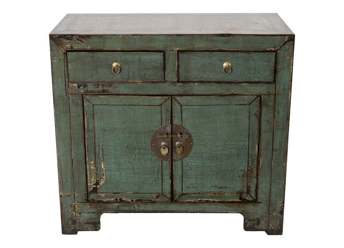 buffet vert 2 portes et 2 tiroirs en bois massif avec. Black Bedroom Furniture Sets. Home Design Ideas