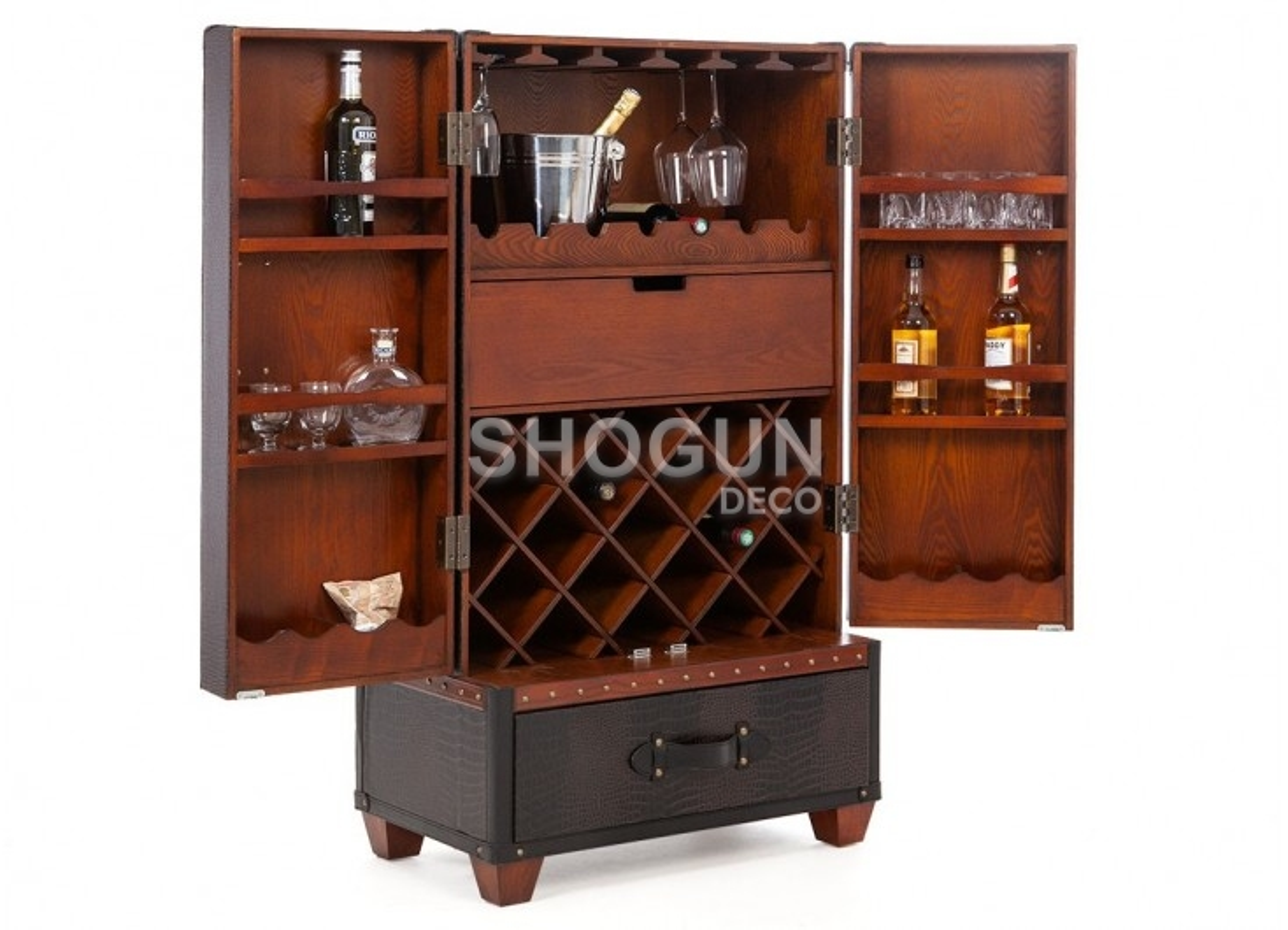Meuble bar / malle à vins et liqueurs Cap Horn - Façon croco marron