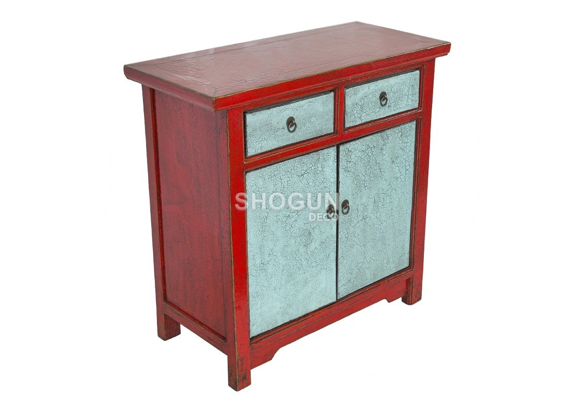 buffet en bois massif avec finition laqu e bleu rouge. Black Bedroom Furniture Sets. Home Design Ideas