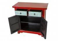 Buffet Chinois - 2 portes 2 tiroirs - Rouge et bleu