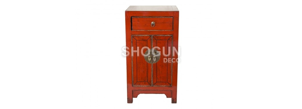 Meuble d'appoint Chinois - 2 portes 1 tiroirs - Rouge