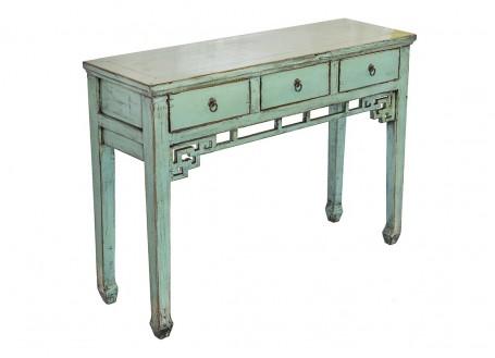 Console Chinoise - 3 tiroirs - Vert pâle