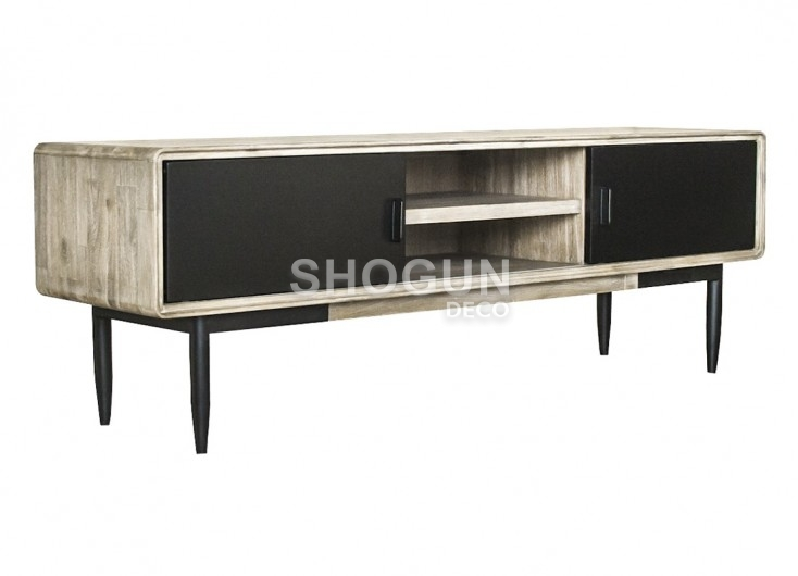 meuble tv multim dia en bois massif acacia et portes noires 165cm. Black Bedroom Furniture Sets. Home Design Ideas