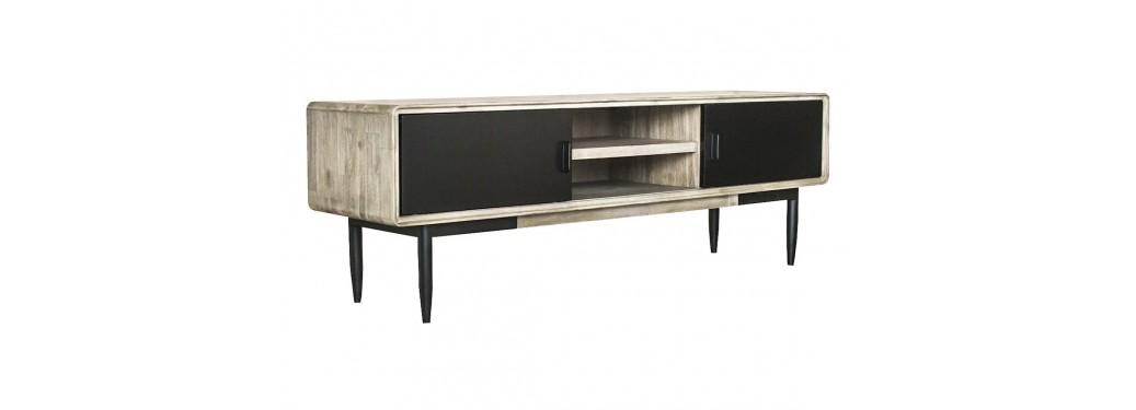 Meuble TV multimédia noir - 165cm - 2 portes coulissantes