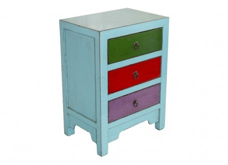 Meuble d'appoint Chinois - 3 tiroirs - Multicolore