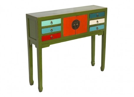 Console Chinoise - 2 portes 6 tiroirs - Multicolore