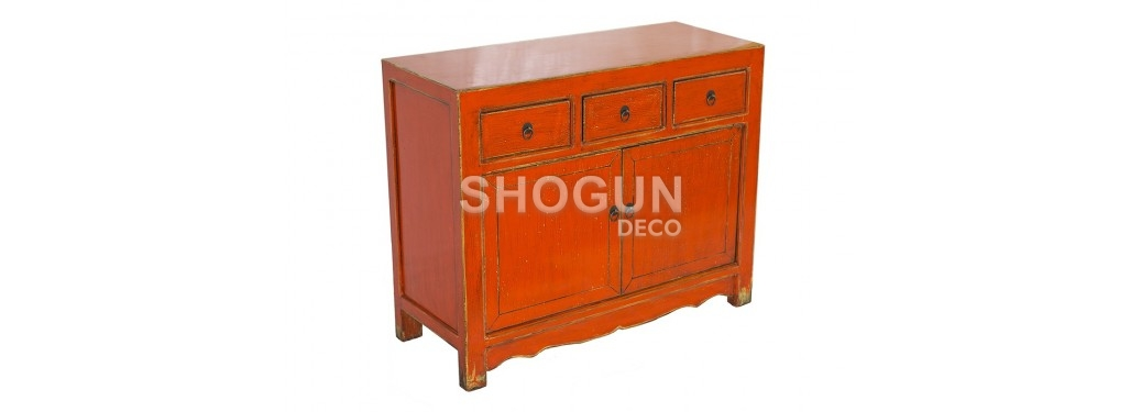 Buffet Chinois - 2 portes 3 tiroirs - Orange