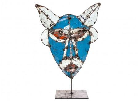 Masque sur pied en bidon recyclé- artisanat