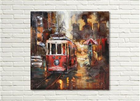 Tableau en métal en relief - Tramway