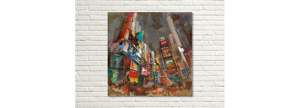 Tableau en métal en relief - Times Square