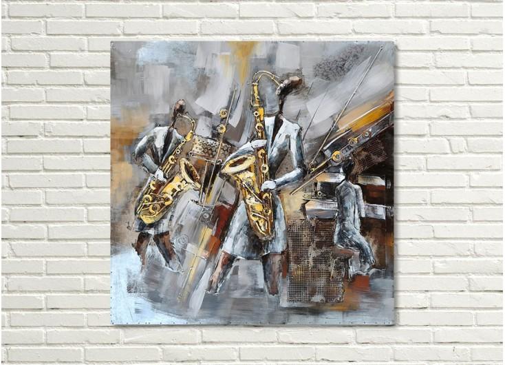 Tableau en métal en relief - Musiciens