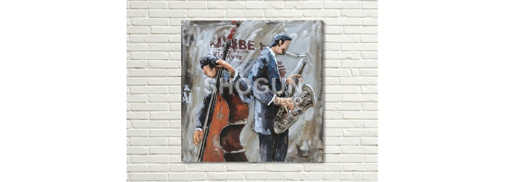 Tableau en métal en relief - Duo musiciens