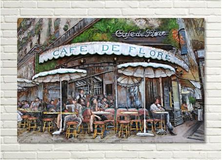 Tableau en métal en relief - Café de Flore