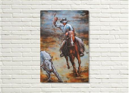 Tableau en métal en relief - Cowboy