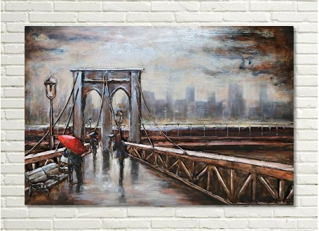 Tableau en métal en relief - Brooklyn Bridge