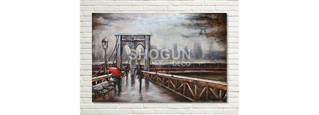 Tableau en métal en relief - Brooklyn Bridge