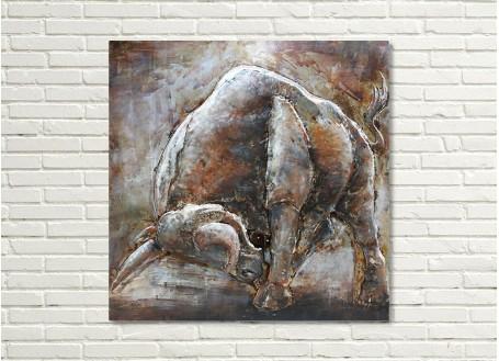 Tableau en métal en relief - Taureau