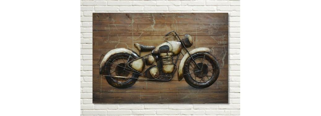 Tableau en bois et métal en relief - Moto