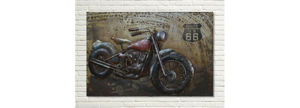 Tableau en métal en relief - Moto