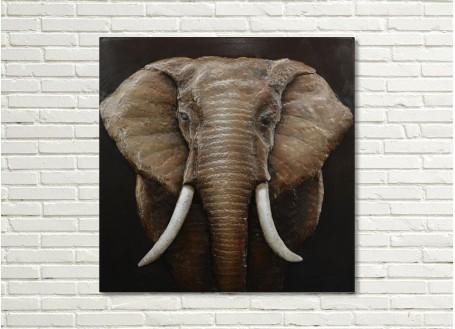 Tableau en relief en métal peint - Elephant