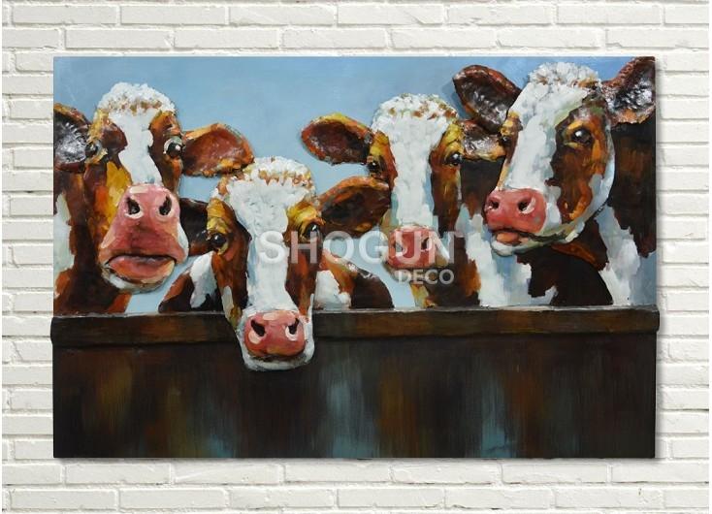 Tableau en métal en relief - Vaches