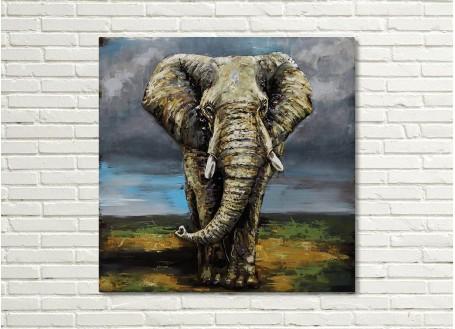 Tableau en métal en relief - Elephant