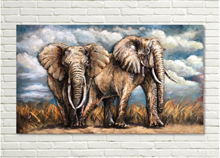 Tableau en métal en relief - Elephants