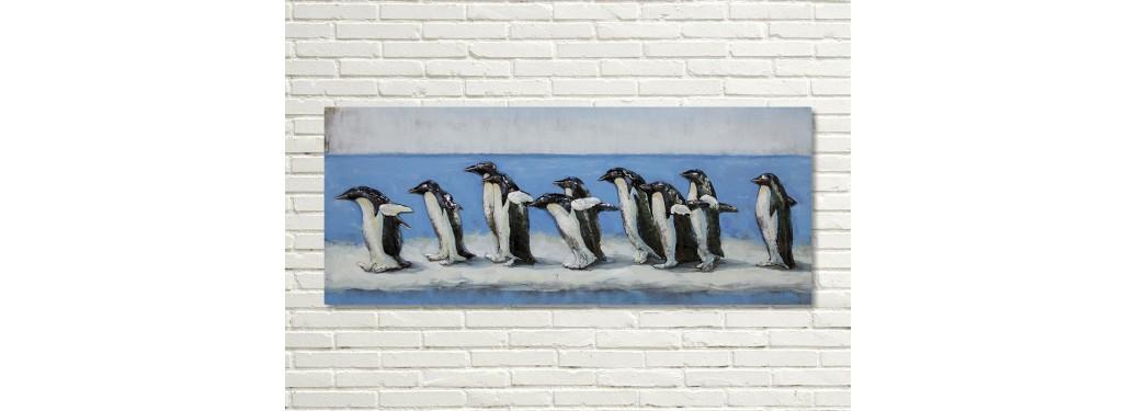 Tableau en métal en relief - Pingouins