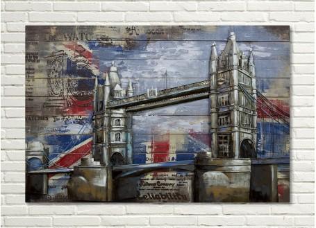 Tableau en bois et métal en relief - London Bridge