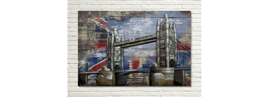 tableau en bois et m tal en relief london bridge. Black Bedroom Furniture Sets. Home Design Ideas