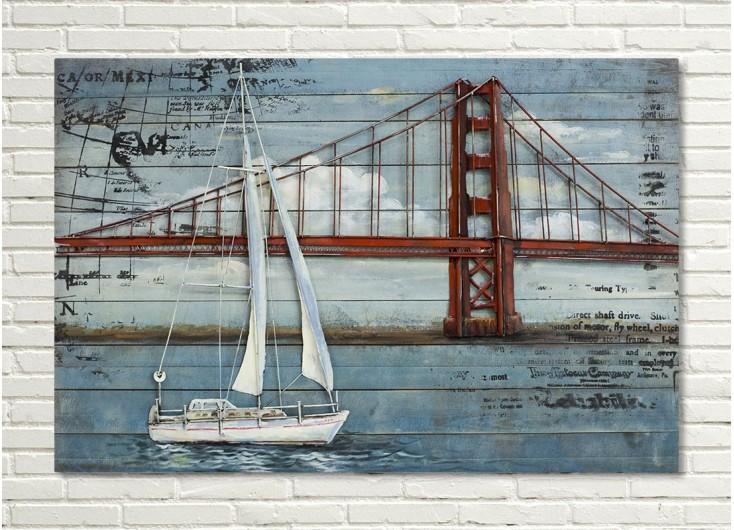 Tableau en bois et métal en relief - Golden Gate