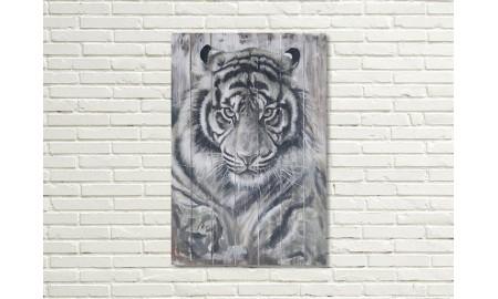 Tableau en bois et métal en relief - Tigre blanc