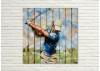 Tableau en bois et métal en relief - Golfeur