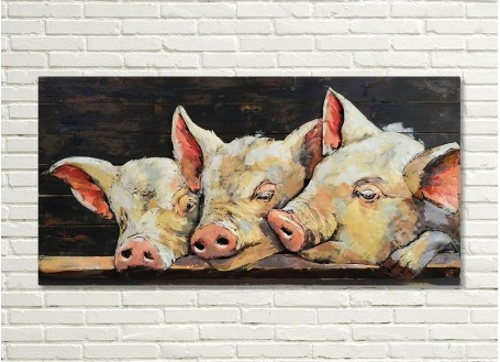 Tableau en bois et métal en relief - Cochons