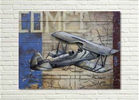 Tableau en bois et métal en relief - Biplan FK12 Comet