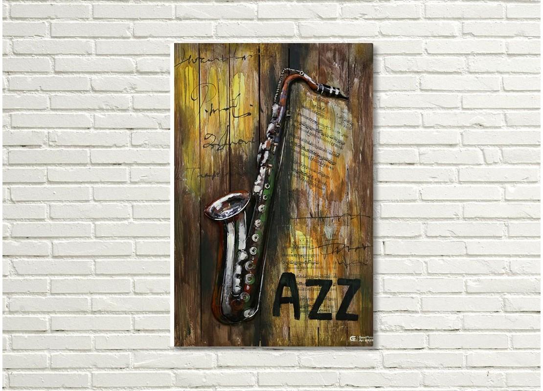 tableau en bois et m tal en relief saxophone. Black Bedroom Furniture Sets. Home Design Ideas