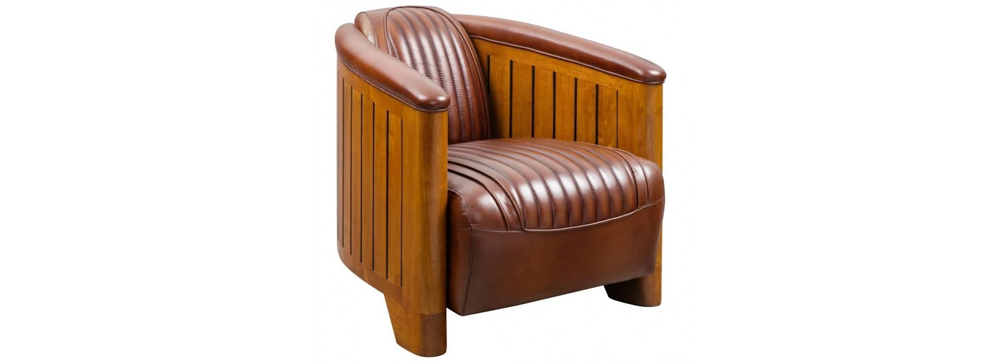 Canoë armchair - Brown leather