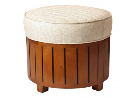 Canoë round footstool - beige fabric