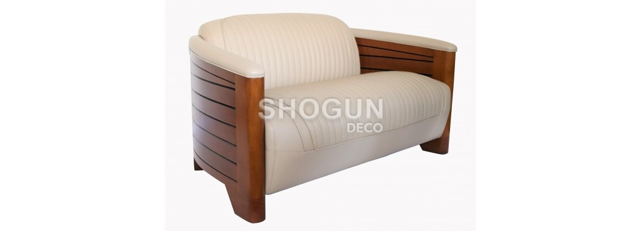 Pirogue sofa - Beige leather