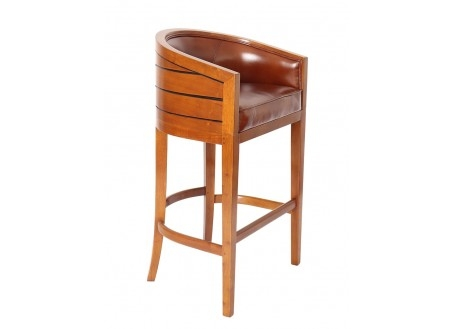 Tabouret de bar Pirogue - Cuir marron