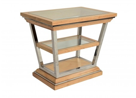 Side table in glass and wood