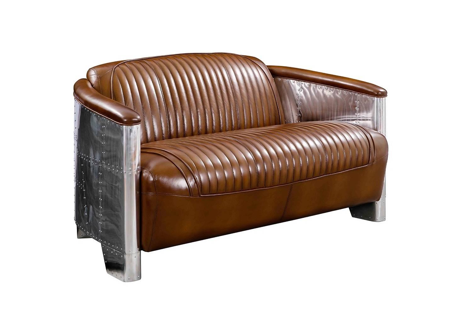 Aviator settee in brown leather