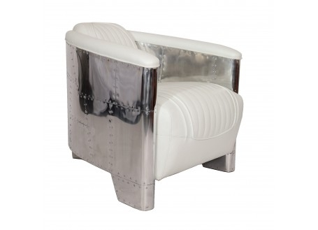 White leather aviator armchair DC3