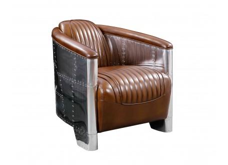 Fauteuil club design aviator cuir marron vintage et aluminium