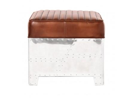Aviator square Ottoman - Brown leather