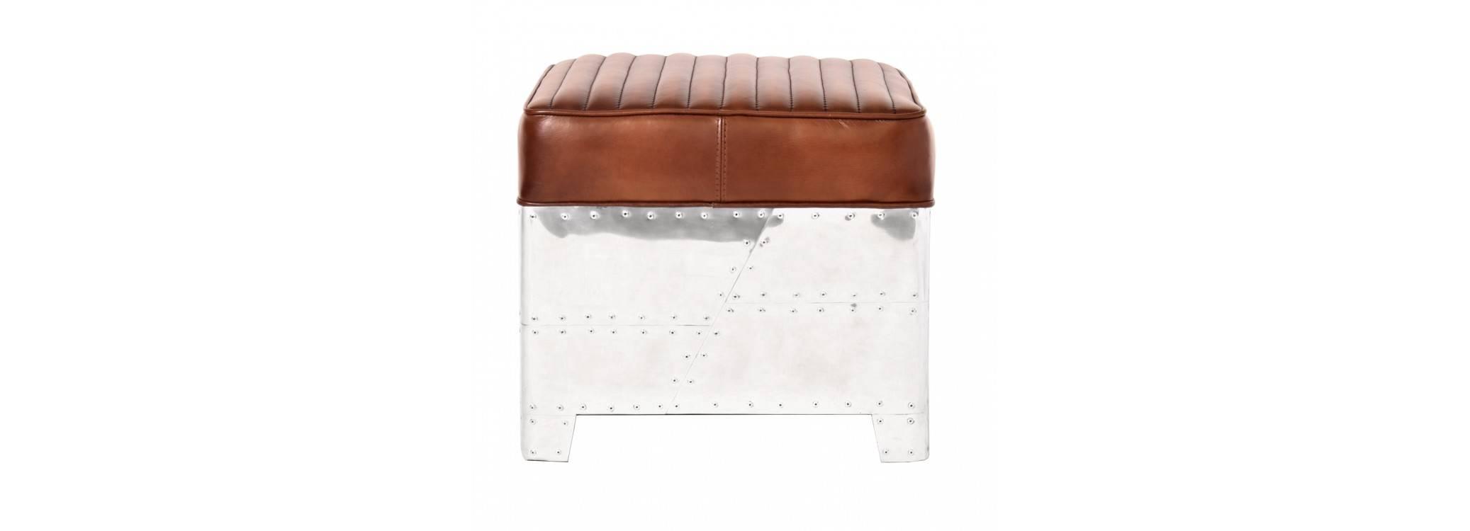 Pouf carré DC3 en cuir marron