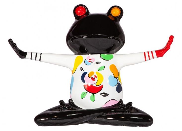 Statue de grenouille yoga, en position du lotus, bras horizontaux